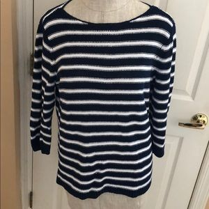 Chaps XL nautical look sweater navy white CUTE